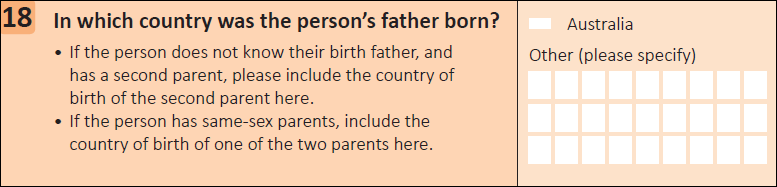 This question seeks information on which country the person's father was born in.