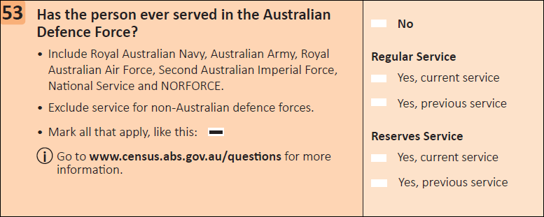 This question seeks information on if a person has ever served in the Australian Defence Force.