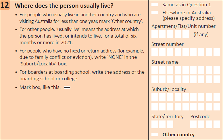 This question seeks information on where a person usually lives.