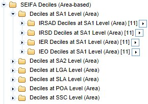 Choosing the folder containing the required SEIFA variables