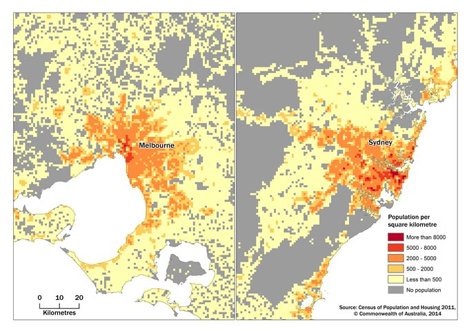 Figure 3, A comparison map of Melbourne and Sydney , showing the population density grid at one square kilomtre grid cells.