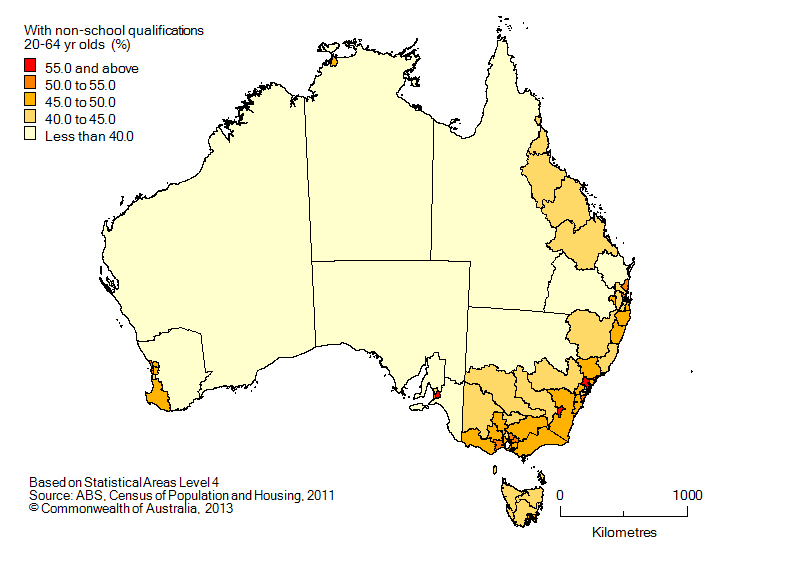 MAP: Population with non-school qualifications, 20-64 yr olds, Australia, 2011