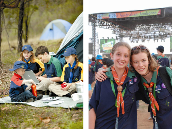 Photograph: Scouts having fun on a camp – courtesy Snowgum (left). Friends forever – courtesy Tracy Murray (right).
