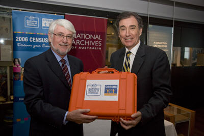 Australian Statistician Mr Brian Pink hands over the Time Capsule to Mr Ross Gibbs, Australian Archives