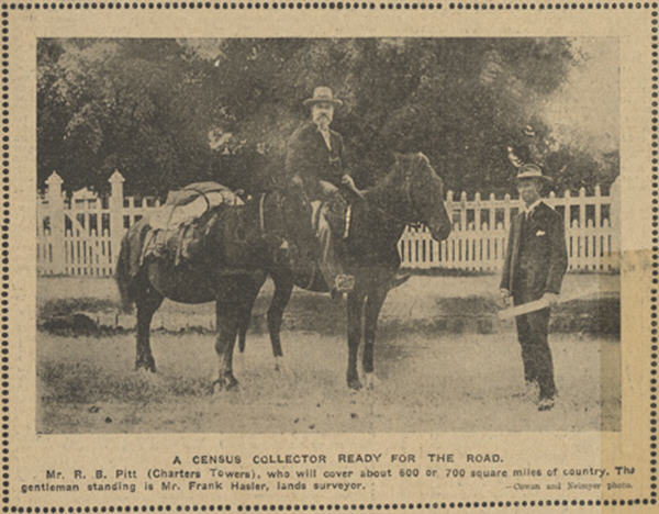 1911 photograph of Mr R B Pitt, Charters Towers (on horseback, and with a pack horse) who will cover about 600 or 700 square miles of country. A gentleman standing with maps is Mr Frank Hasler , lands surveyor.