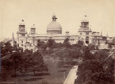 Photo of the massive Garden palace buiding including central dome and towers at the four corners
