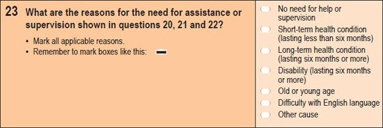 Image of question 23 from the 2011 Census